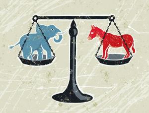 Donkey amd Elephant on scales